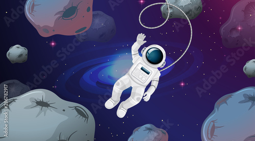 Foto op Canvas Kids Astronaut in asteroid scene