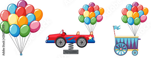 Canvas Prints Kids Colorful balloons with car and cart