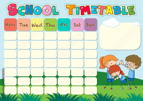 Montage in der Fensternische Kinder School timetable template with kids playing