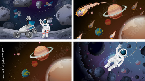 Tuinposter Kids Set of space scenes