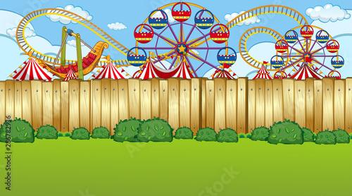 Foto op Plexiglas Kids Amusement park fence scene