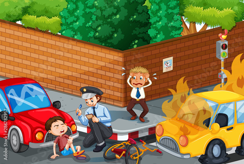Tuinposter Kids Accident scene with car accident on the road