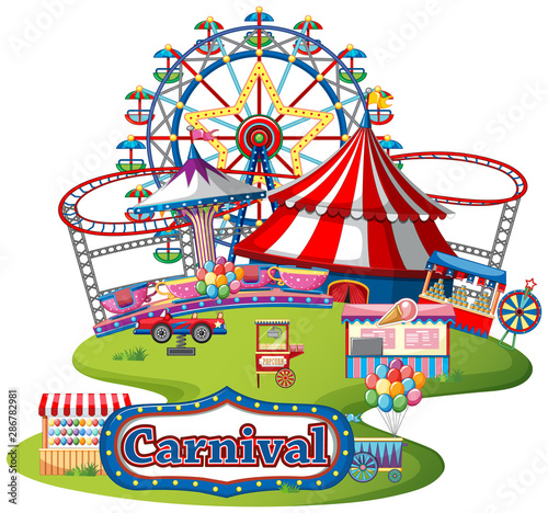 Tuinposter Kids Fun fair theme park on isolated background
