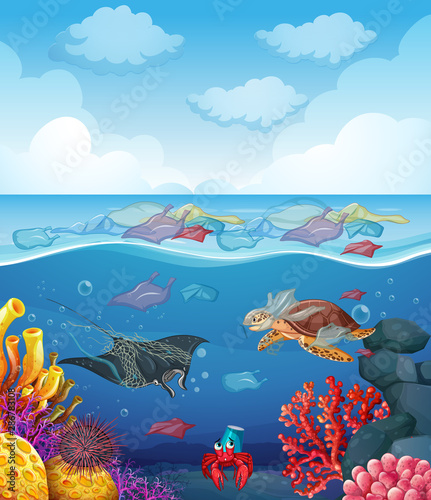 Tuinposter Kids Scene with sea animals and trash in the ocean