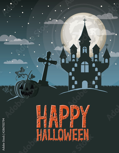 halloween celebration card with cemetery and castle scene
