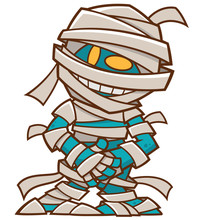 Vector Illustration Of Cartoon Mummy Character