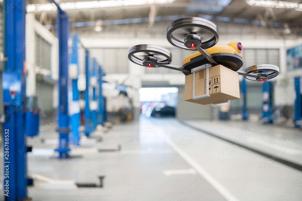 Fototapety, obrazy: Spare part delivery drone at garage storage in leading automotive car service center for delivering mechanical shipping component part assembling to customer. Modern innovative technology and gadget