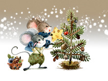 Christmas Scene, Mice Decorate The Holiday Tree With Seeds And Fruits Of Plants. Watercolor Illustration, Handmade.