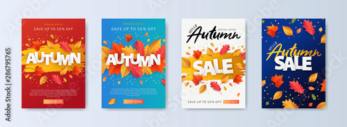 Fototapeta Autumn Sale background, banner, or flyer design. Set of colorful autumn posters with bright beautiful leaves frame, paper cut style letters and lettering. Template for advertising, web, social media obraz