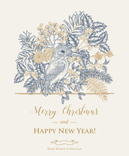 Christmas Card With A Kingfisher Bird And Winter Plants. Hand Drawn King Fisher, Holly Branch, Juniper, Mistletoe And Elderberry. Vector Illustration. Vintage Engraving Style.
