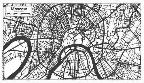 Canvas Print Moscow Russia City Map in Black and White Color.