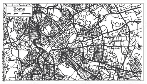 Fotografía Rome Italy City Map in Black and White Color.