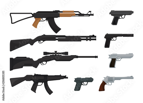 Fotomural  Set of small arms. Vector illustration on a white background.