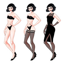 Beautiful Young Woman, Dress Up Paper Doll Template, Lingerie And Evening Dress, Brunette Girl Model, Vector Illustration
