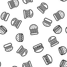 Delicious Burger Seamless Pattern Vector Contour Illustration