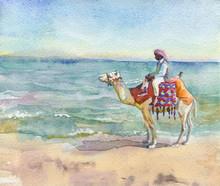 Painting Arabian Man And Camel