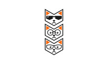 Cool Cat Geometry Logo Icon Ve...