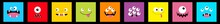 Monster Head Line Icon Set. Sq...