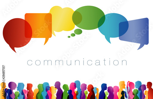 Obraz Speech bubble. Large isolated group people in profile talking silhouette. Concept to communicate. Crowd speaks. Social networking. Multi-ethnic people dialogue. Clouds rainbow colors. Talk - fototapety do salonu