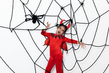 Young Girl In Red Devil Suit W...