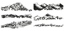 Vector Collection Of Hand Drawn Mountains And Hills Isolated On White Background, Black Scribble Drawings.