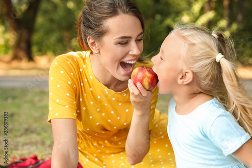 Happy mother and her little daughter at picnic in park Canvas-taulu