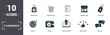 Leinwanddruck Bild - E-Commerce set icons collection. Includes simple elements such as Shopping Bag, Shopping Cart, Wish List, Marketplace, Price Tag, Wallet and Online Payment premium icons