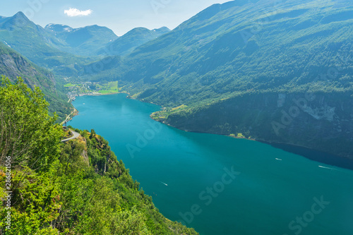 Fotomural  Geiranger fjord sea mountain landscape view, Norway