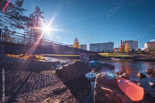 Foto op Canvas Aubergine Autumn view from Kajaani, Finland.