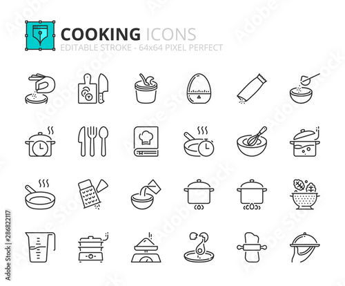 Fotografía Outline icons about cooking