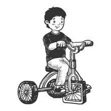 Boy Kid On Children Tricycle With Square Wheels Sketch Engraving Vector Illustration. Scratch Board Style Imitation. Hand Drawn Image.