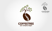Coffee Tree Vector Logo Template. Art Tree For Your Design. Coffee Tree Logo Design For Your Business, Creative Industries, Corporate And Other.