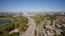 NYC New York Aerial V147 Flushing Queens Cityscape Following Path Of Expressway Toward Flushing Bay - October 2017
