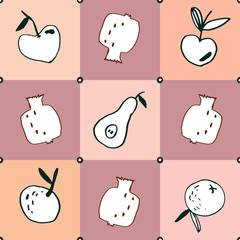 Seamless pattern.Hand drawn tropical and exotic fruits isolated on pink pastel colored background in unique trendy organic style.Illustration for menu design,packaging,cooking book. Children textile.