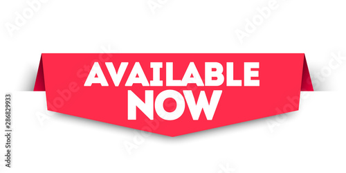 Photo Modern Red Flat Available Now Banner Tag. Vector Web Element.