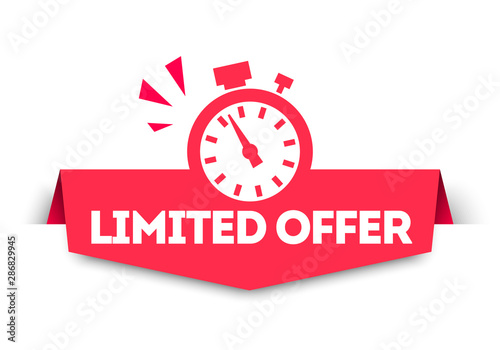 Fotomural  Modern Red Limited Offer Banner Tag With Stop Watch