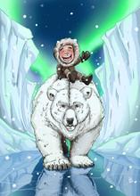 Polar Bear With Inuit Eskimo Kid