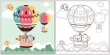 Vector Cartoon Of Hot Air Balloons With Cute Animals, Coloring Book Or Page