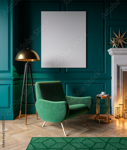 Fototapeta  Classic green interior with armchair, fireplace, candle, floor lamp, carpet