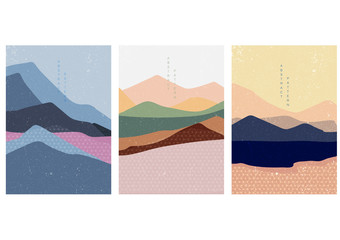Landscape background with Japanese pattern vector. Curve template with geometric elements.