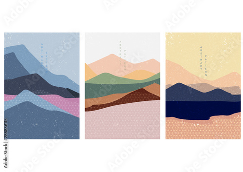 Poster Blanc Landscape background with Japanese pattern vector. Curve template with geometric elements.