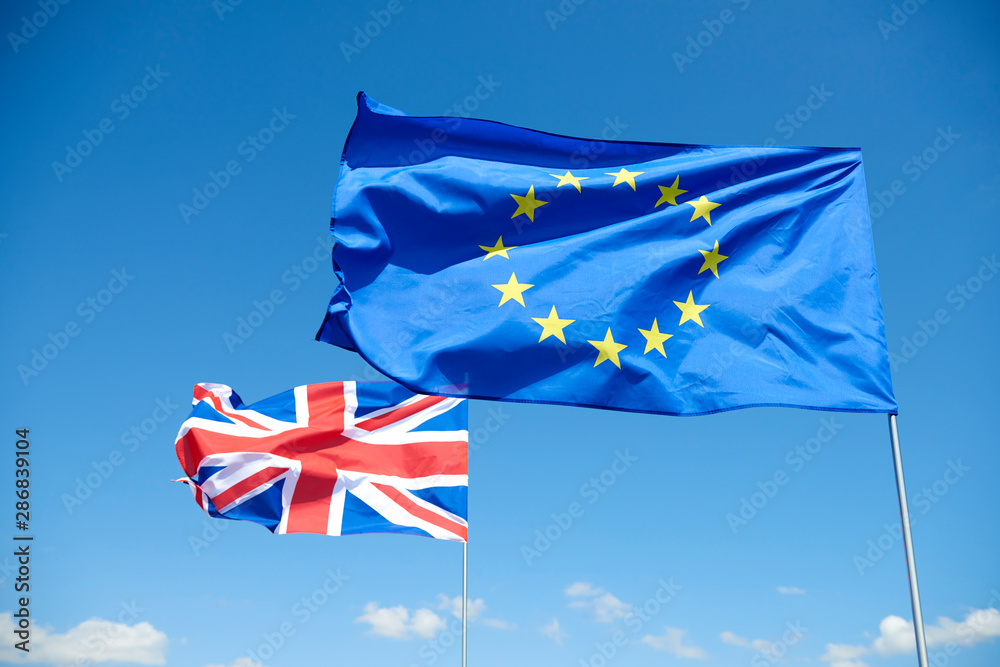 Fototapety, obrazy: Flags of  European Union and Britain represent brexit