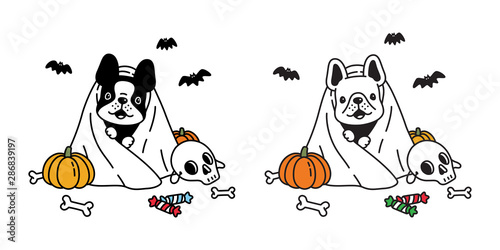 Photo dog vector french bulldog pumpkin Halloween icon character cartoon ghost spooky