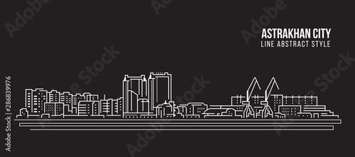 Photo Cityscape Building Line art Vector Illustration design - Astrakhan city