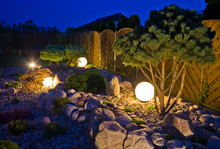 Home Garden At Night, Illumina...