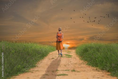 Fototapeta Alone young girl walking on the dirt road obraz na płótnie