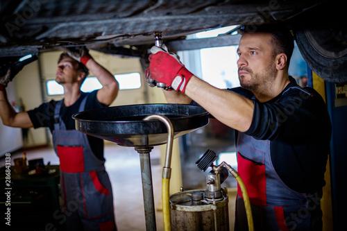 Cuadros en Lienzo Car mechanic changes oil in a workshop