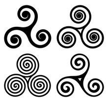 Black Irish, Breton And Scottish Traditonal Symbols, Celtic Triskels Vector Set. Triple Spirals Isolated On White Background