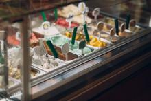 Different Varieties Of Ice Cream Gelato In The Store