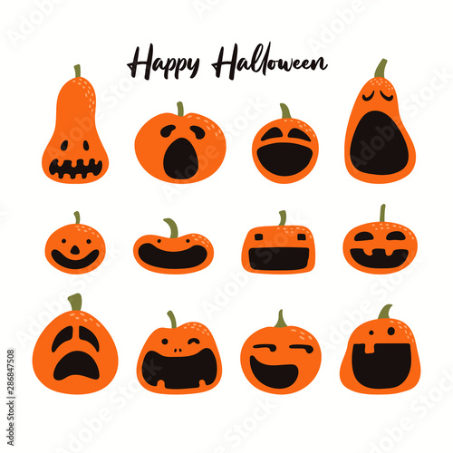 Photo Stands Illustrations Set of different Halloween pumpkins, jack o lanterns. Isolated objects on white background. Hand drawn vector illustration. Flat style. Design element for party banner, poster, flyer, invitation.